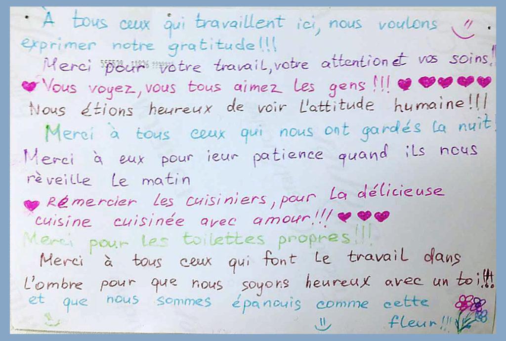 Message d'un couple accueilli à Trégey